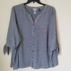 Catherines Pinstripes Blouse Sz. 2XWP
